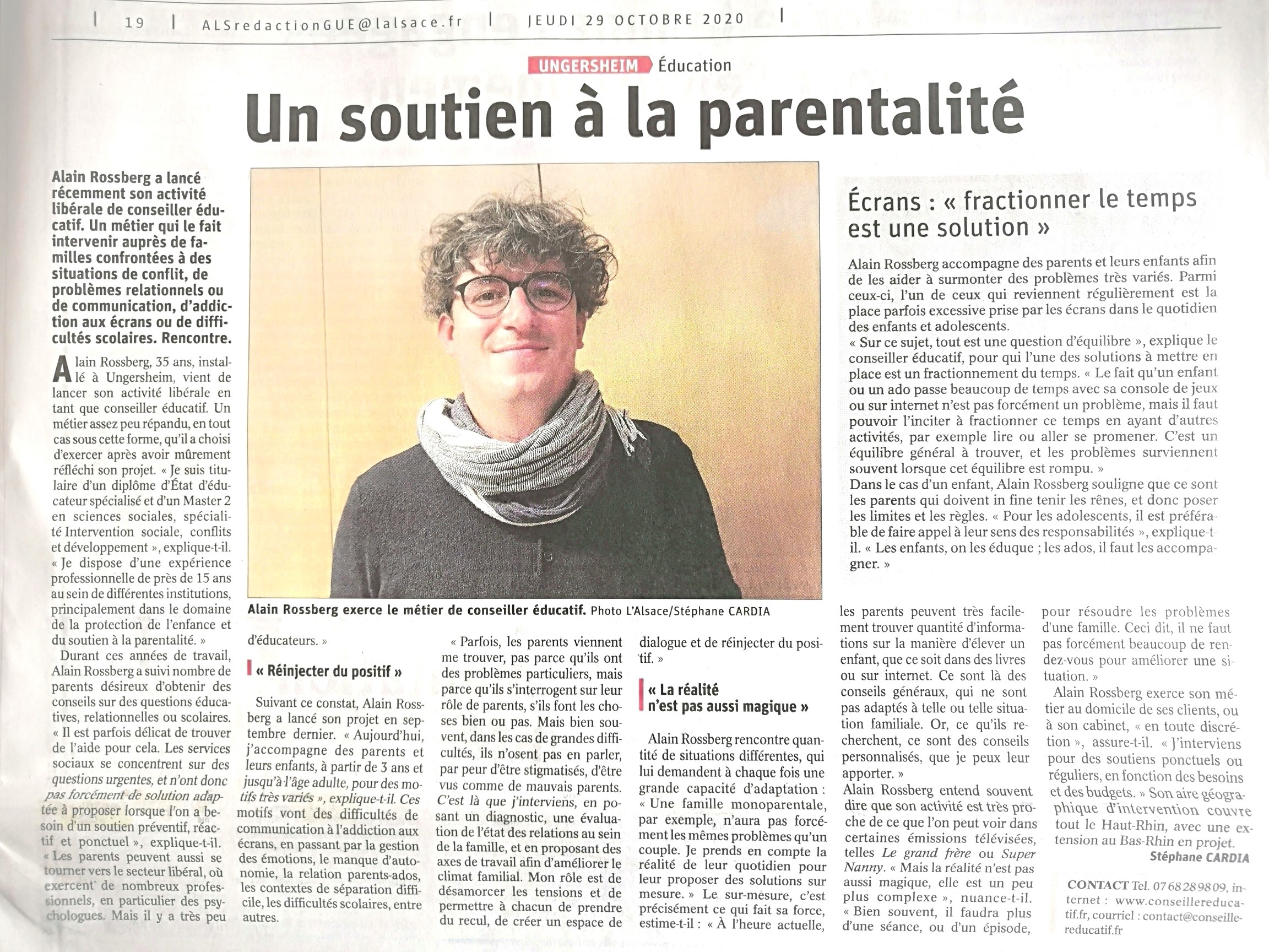 Article-de-presse-DNA-LALSACE-Presentation-Alain-ROSSBERG-Conseiller-Educatif-29.10.2020